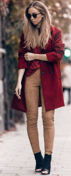Lisa Olsson Red Wool On Camel Suede Fall Streetstyle Inspo
