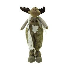 20 inch Gray and Brown Standing Boy Moose Decorative Christmas Tabletop Figure