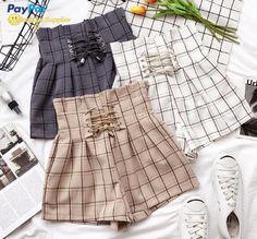 2018 Women Mini Skirts High Waist Harajuku Cute Sweet Skirts Pleated Vintageliilgal - Her Crochet Girls Fashion Clothes, Teen Fashion Outfits, Edgy Outfits, Korean Outfits, Cute Fashion, Girl Fashion, Cool Outfits, Summer Outfits, Mode Kawaii