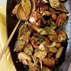 Roasted Fingerling Potatoes and Baby Artichokes | CookingLight.com