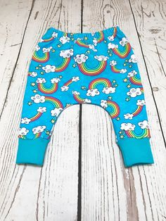 Rainbow Baby Harem Pants Rainbow Harem by YouAreMySunshineLtd - Rainbow Baby Shower Gift - Toddler Harem Pants