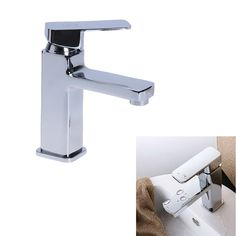 Newly Bathroom Basin Sink Faucet Waterfall Widespread  Single Handle Single Hole Mixer Tap Mixer Square Modern Design