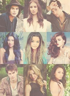 pretty little liars - hannah, emily, spencer, aria, allison, mona, toby, caleb and ezra