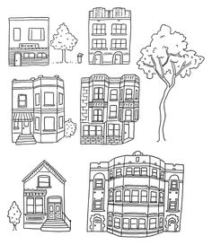 Buildings for a Chicago streetscape.