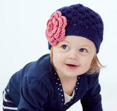 Crochet Girls Hat, Newborn Hat, Navy Blue and Pink Flower Beanie Baby Hat, Photography Prop