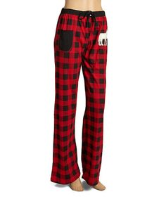 Loving this Red & Black Buffalo Plaid Moose Lounge Pants - Women on #zulily! #zulilyfinds