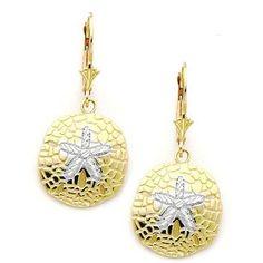 2-tone rhodium & 14kt yellow gold diamond cut metal mold sand dollar earring