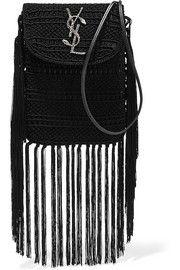Anita tasseled leather-trimmed crocheted shoulder bag
