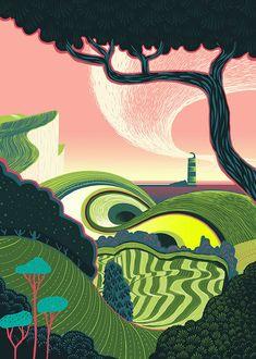 """Lighthouse in the East"" Illustration de l'artiste britannique Sam Chivers Illustration Design Graphique, Art Et Illustration, Landscape Illustration, Pop Art, Science Fiction, Architecture Concept Drawings, Different Kinds Of Art, Collaborative Art, Bike Art"