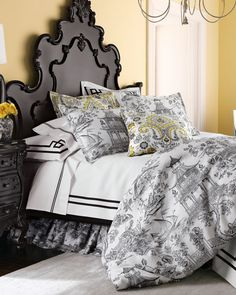 """Legacy Home """"Toile Orientale"""" - black and white duvet"""