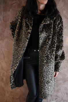 Fur Coat Vintage Coat Faux Fur Coat Black Animal Print Size 16