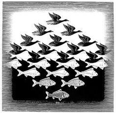 M.C. Escher een kopie daarvan hadden mijn ouders in de gang hangen.