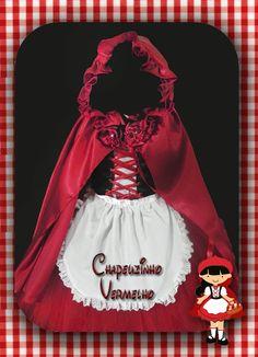 Conjunto composto por: Blusinha em cotton manga princesa, corset preto, saia em tecido, avental branco e capa modelo luxo Bambi Baby, Fantasias Halloween, Traditional Dresses, Halloween Costumes, Baby Costumes, Kids, Inspiration, Sewing, Red Gown Dress