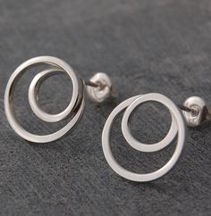 Sterling Silver Whirlpool Stud Earrings