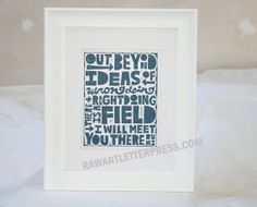 Rumi Quote Typography Poster Black and White by RawArtLetterpress