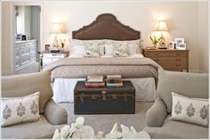 traditional bedroom by Dayna Katlin Interiors. dressing up the foot of the bed in a master bedroom Master Bedroom Makeover, Master Bedroom Design, Dream Bedroom, Home Bedroom, Bedroom Furniture, Bedroom Decor, Bedroom Ideas, Master Bedrooms, Bedroom Photos