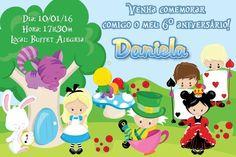 Convite digital personalizado Alice no país das maravilhas 011