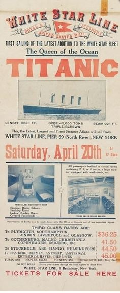 Titanic ads before the tragedy ::: via business insider