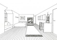 An age-old teaching exercise, the one-point perspective drawing of a room never fails to engage students. This example illustrates how the basic one point perspective 'box' can be cut and modified to create a more complex interior space.