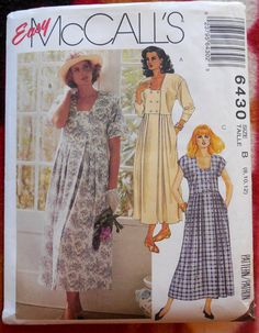McCall's 6430  Loose-Fitting 1990s Vintage Dress by Clutterina