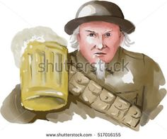 Watercolor style illustration of Uncle Sam as soldier wearing World War one 1 uniform toasting a mug of beer viewed from front on isolated white background. #unclesam #watercolor #illustration