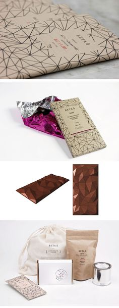 "The chocolatier Beta5's new ""polygon bar""; packaging designed by Glasfurd & Walker"