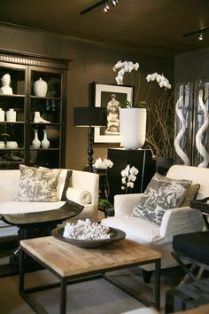 Dark Walls White Furniture Shelving Living Room Salon