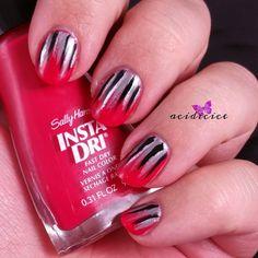 Sally Hansen Insta-Dri Racy Rouge Waterfall Nail Art