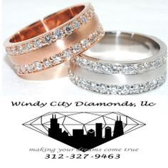 Timeless Custom made Gents Diamonds wedding bands only At Windy City Diamonds.  # w089030  www.windycitydiamonds.com  #men #wedding #weddingband #gold #diamond
