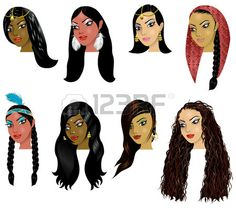 Picture of Vector Illustration of Indian, Arab and Native American Women Faces. Great for avatars, makeup, skin tones or hair styles of various women. stock photo, images and stock photography. American Indian Girl, Native American Women, American Indians, Girl Face, Woman Face, Avatar Makeup, Indian Skin Tone, Face Icon, Types Of Braids