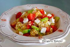 Salata de bulgur este un preparat rapid, gustos si usor de preparat, potrivit pentru acele momente cand aveti pofta de o salata satioasa, simpla si buna. Dar inainte de a pregati delicioasa noastea salata sa aflam mai multe despre bulgur. Bulgurul este un amestec de diferite tipuri de boabe de grau macinate mare şi este folosit în diferite reţete de salate, sau mancaruri. Fruit Salad, Cobb Salad, Recipes, Food, Bulgur, Fruit Salads, Essen, Meals, Eten