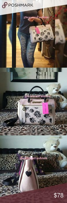 "BETSEY JOHNSON Purse FLORAL Blush Pink Stripe Bag BRAND NEW WITH TAGS. Stunning Betsey Johnson satchel. Black/white rose floral print with subtle pastel pink stripes and trim. SUCH A CUTE BAG. So stylish. Faux Leather. Removable shoulder strap. Medium size measures 14.5""Lx10.5""Hx5.5""D. Betsey Johnson Bags Satchels"