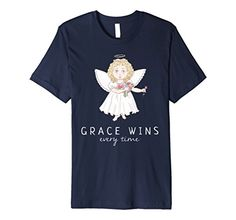 Mens Christian T Shirt Grace Wins Every Time with an Angel Kids Gift