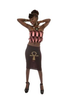 TABATAP: Ankh skirt and top, mix of african fabric and stretch material