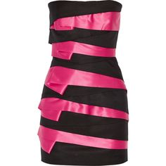 Balmain - Tiered Canvas And Satin Strapless Mini Dress ($1,544) ❤ liked on Polyvore featuring dresses, balmain dresses, black, pink, satin cocktail dress, cutout dresses, pink dress, cut out dresses and short pink dress