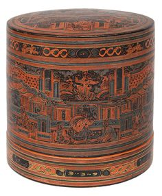 A picknick box with laquer painting    Myanmar (Burma), 19th cent. A big round box with 2 insets. Inside orange and outside black laquered. The cover, the sides and inside of the cover decorated with varying scenes in red, green and yellow. Small traces of age. H. 23 cm, diam. 23 cm.