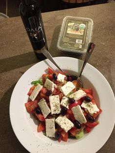 Traditional Greek salad!! Recipe can be found on our website (oleaestates.com). Very easy to make with simple ingredients!