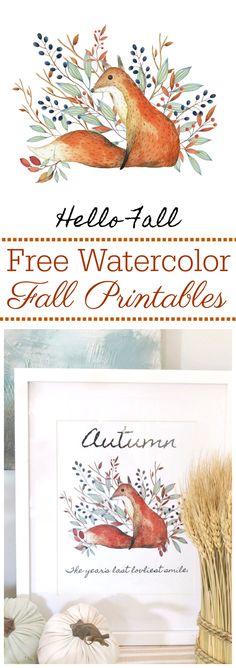 Beautiful watercolor free fall printables. Rustic farmhouse style.