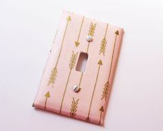 Pink Gold Arrow Light Switch Cover Tribal Shabby Cottage Chic Girls Room Decor Baby Nursery Switchplate Light Plate Kids by ScarlettsCozyCottage on Etsy https://www.etsy.com/listing/275856594/pink-gold-arrow-light-switch-cover