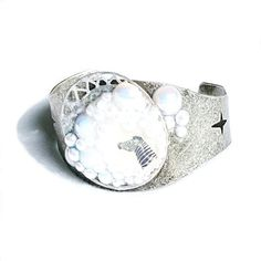 Antique Silver and Pearl Cuff Bracelet with Zebra - $29.99
