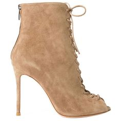 Gianvito Rossi Suede Lace Up Booties (435 BHD) ❤ liked on Polyvore featuring shoes, boots, ankle booties, heels, neutrals, cut out heel booties, heeled booties, high heel stilettos, lace up booties and lace up heel boots