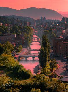 Miljacka river, Sarajevo, Bosnia