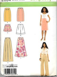 Simplicity Pattern 2654 Flared & Slim SKIRTS PANTS or Shorts