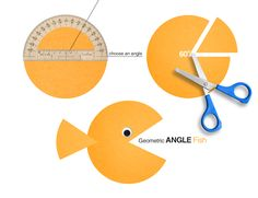 Kids construct a fish out of a circle, using a protractor to create its mouth (make sure each kid creates a different angle). They cut out the angle and the chunk of paper becomes the caudal fin (or t
