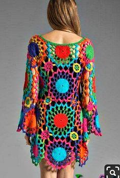 Col Crochet, Crochet Tunic, Crochet Jacket, Crochet Art, Crochet Woman, Crochet Clothes, Crochet Patterns, Crochet Dresses, Crochet Hippie