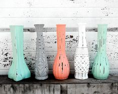 "Painted Vase - One 9"" Tall Glass Bud Vase Painted in Bright Trendy Mint Coral White Gray Grey Nine Inch Tall Vintage Shabby Chic Distressed"