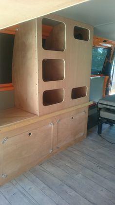 caravan interior 536702480579490771 - Image Source by Camper Beds, Truck Bed Camper, Mini Camper, Van Conversion Interior, Camper Van Conversion Diy, Diy Van Furniture, Van Storage, Camper Storage, Van Curtains