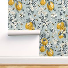 Lemon Wallpaper - Bees And Lemons - Blue - Large by fernlesliestudio - Floral Light Blue Botanical Wallpaper Double Roll by Spoonflower Perfect Wallpaper, Self Adhesive Wallpaper, Custom Wallpaper, Wallpaper Roll, Peel And Stick Wallpaper, Wallpaper Shops, Accent Wallpaper, Print Wallpaper, Wallpaper Ideas