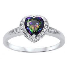 Kattia: 0.87ct Heart cut Mystic Rainbow Topaz Halo Inlay Promise Ring - Trustmark Jewelers - Promise Rings
