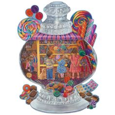 "Sweeties 300 Large Piece Jigsaw Puzzle, $18.99, Item #47928    Amazing sweet treats fill this old-fashioned candy jar shaped puzzle by artist Tricia Reilly-Matthews. Available in two piece counts, each measuring 20"" x 27""."